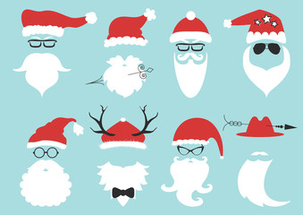 Vector hipster Santa Claus. Silhouette with cool beard and glasses.