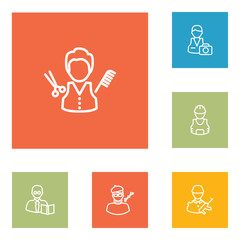 Set Of 6 Professions Outline Icons Set.Collection Of Barber, Teacher, Designer And Other Elements.
