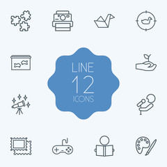 Set Of 12 Hobbie Outline Icons Set.Collection Of Painting, Aquarium, Origami And Other Elements.
