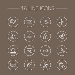 Set Of 16 Hobbie Outline Icons Set.Collection Of Camping, Shopping, Painting And Other Elements.
