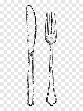 Old fork and knife sketch. Cutlery on a transparent background
