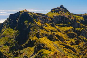 View of mountains on the route Pico Ruivo - Encumeada, Madeira Island, Portugal, Europe.