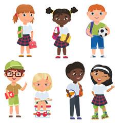 Cute pupils boys and girls. School kids vector illustratrion.