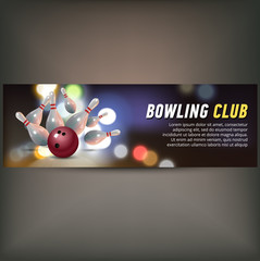 Bowling horizontal banner with bowling champ club and leagues symbols realistic isolated