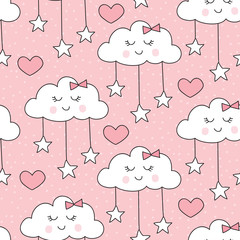 seamless smiling sleeping clouds with stars pattern vector illustration