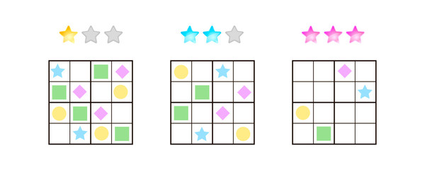 vector illustration. Sudoku for kids with pictures at different levels of complexity. Logic game for preschool children. Educational game. rebus. rhombus, star, square, circle.