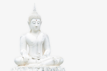 White Buddha statues isolation on white background