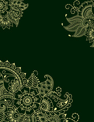 Stylized with henna tattoos color decorative pattern for decorating covers for book, notebook, casket, magazine, postcard and folder. Flower pattern in mehndi style. Frame in the eastern tradition.