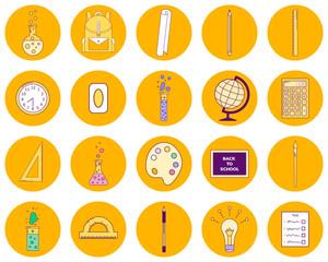 vector illustration set orange round icons, line art, back to school, backpack, blackboard, brush, eraser, flasks,paper scroll, pen, pencil, test, globe, wall clock, light bulb, ruler, calculator