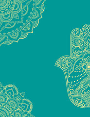 Stylized with henna tattoos color decorative pattern for decorating covers for book, postcard and folder. Flower pattern in mehndi style. Frame in the eastern tradition. Mandala and Hamsa.