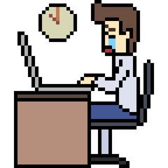vector pixel art overtime work