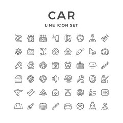 Set of car related line icons