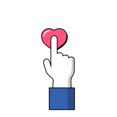 Human hand on love symbol. Hand and finger icon.