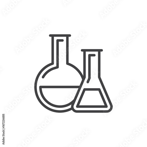 Chemistry Lab Glassware Line Icon Outline Vector Sign Linear Style