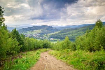 Beautiful rural landscape in the mountains. Carpathian Mountains, Ukraine
