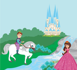 Poster princess and the prince in a beautiful garden