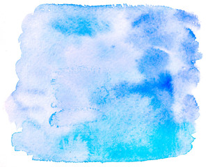 Hand painted with brush light blue watercolor background. Texture with smears, spots. Turquoise bright blue  grunge background.