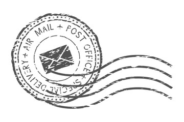 Round air mail black postmark with envelope sign