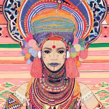 Illustration of womanwearing tribal goddess costume
