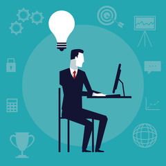 color background with executive man sitting in desk with tech device in office having a idea vector illustration