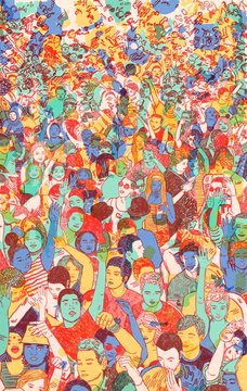 Illustration of crowd dancing at a concert