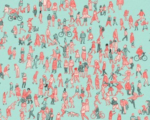 Big Crowd of Cartoon Men and Women Walking on Blue Background