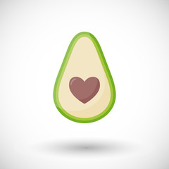 Avocado love vector flat icon