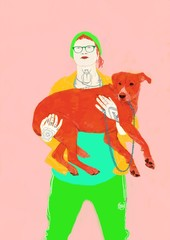 Girl with Tattoos holding Pet Red Dog wearing Glasses