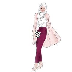 Moslem elegant lady in pink