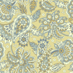 paisley seamless textile pattern in asian batik style
