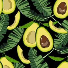 Modèle sans couture avec avocat et feuilles tropicales. Illustration vectorielle.