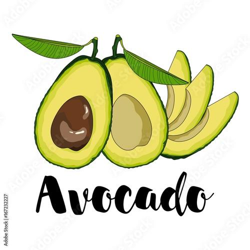 """Cute Set With Cartoon Avocado. Vector Illustration"