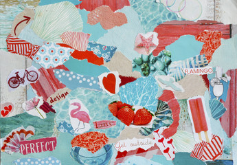 Atmosphere color red, orange, blue, pink and white mood board collage sheet made of teared magazine paper with flamingo figures, letters, colors and textures, results in art