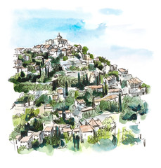 Provence. Hand drawing illustration. Gel pen and watercolor