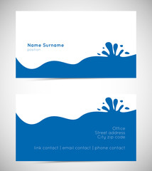 business card template with water wave and splatter