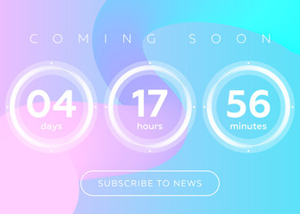 Vector Illustration of Countdown Timer. Digital Clock Design on Blue Abstract Fluid Background.