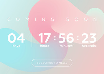 Vector Illustration of Countdown Timer. Digital Clock Design on Pastel Abstract Fluid Background.