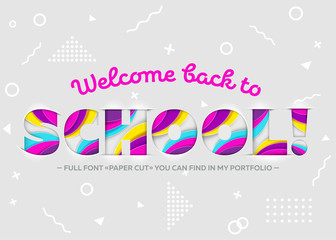 Vector Illustration of Welcome Back to School Inscription.
