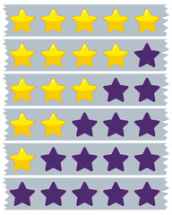 Yellow and blue stars on blue ribbons