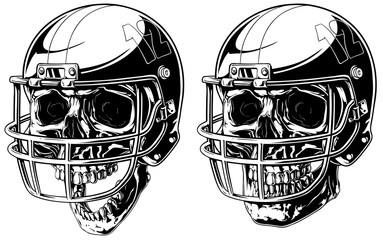Graphic human skull in american football helmet