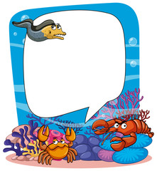 Frame template with animals in the sea
