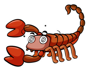 Dizzy scorpion on white background