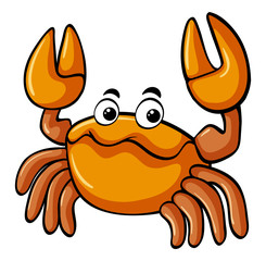 Cute crab on white background