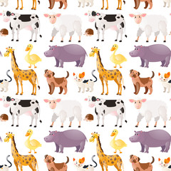 Seamless background with cute animals