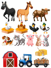 Farm animals with barn and tractor