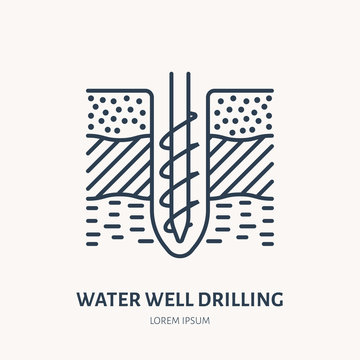 Geological survey, engineering vector flat line icon. Geodesy equipment. Geology research illustration. Water well drilling service sign.