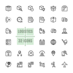 Logistics Supply chain vector line 48x48 Pixel Perfect 32 icon set