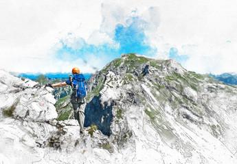 Kletterer steht auf Berggipfel. Abstraktes Design.