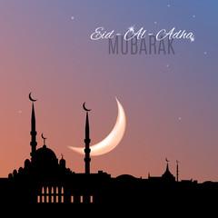 Arabic islamic holiday Eid-Al-Adha Mubarak greeting card with mosque silhouette on sunset sky bakground. Vector illustration