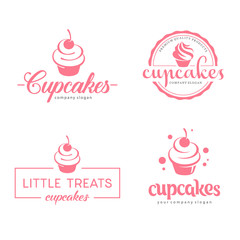 Vector logo design. Cupcakes bakery icon.